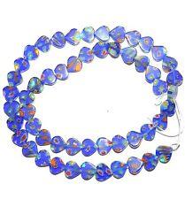 """G3471f Cobalt Blue 8mm Flat Heart Millefiori """"Flower"""" Glass Beads 15"""""""