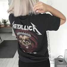 Brandy Melville Gray Cotton Metallica Tee Graphic Shirt Top NWT
