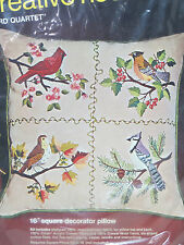 New Bird Quartet Bucilla Crewel Embroidery Pillow Kit Creative Needlecraft #2187
