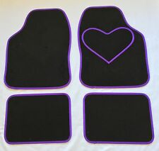 BLACK CAR MATS WITH PURPLE HEART HEEL PAD FOR FORD CAPRI ESCORT FIESTA