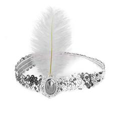 1920s Ladies White Feather Sequin Flapper Headband Vintage Gatsby Headdress