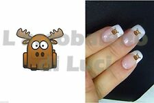 20 ADESIVI UNGHIE NAILS STICKERS ALCE RENNA NATALE NAIL ART DAINO CHRISTMAS ELK