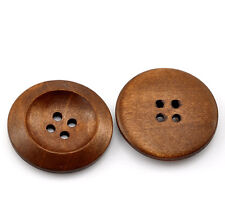 10 Chestnut coloured 4 hole Wooden Sewing Buttons 30mm 3cm Great Value Free P&P
