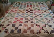 Vintage Hand Stitched CIRCLE 4 PT STAR PATCHWORK QUILT TOP Handmade Large 74x85""