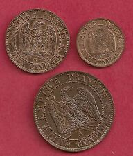 NAPOLEON III SUPERBE LOT 5 CENTIMES 1863 A PARIS 1 ET 2 CENTIMES 1861 K BORDEAUX
