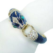 Leopard Panther Animal Bangle Cuff Blue Rhinestone Crystal Enamel 18K Gold GP