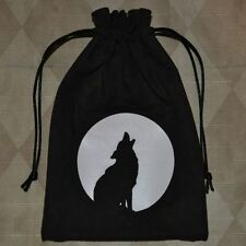 Native totem wolf coyote full moon baying tarot dice rune drawstring pouch bag