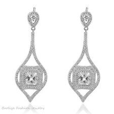 Boucles d`Oreilles Clous Plaqué Or Blanc CZ Chandelier Poire Art Deco Mariage G1