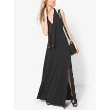 NWT Michael Kors Tie-Neck Jersey Maxi Dress L