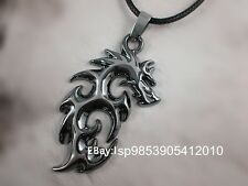 Men's Tribal Tatoo Dragon Stainless Steel Pendant Necklace