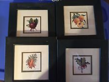 set of 4 framed Arnie Fisk prints,CARROTS,BEETS,PEACHES,RADISHES,nice grouping
