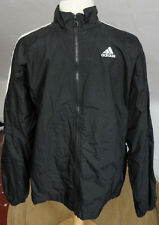 Vintage 90s Large ADIDAS Windbreaker Track Jacket Black Striped Sleeves