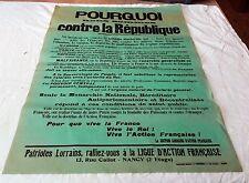 Action Française Nancy - Affiche - Pourquoi nous sommes contre la République