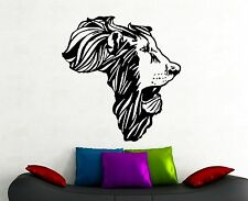 Lion Africa Map Wall Decal Safari Animal Head Vinyl Sticker Art Bedroom Decor 1a