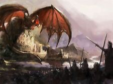 ART PRINT POSTER PAINTING DRAWING FANTASY BATTLE DRAGON WARRIORS LFMP1030