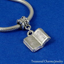 Silver OPEN BOOK Dangle Bead CHARM 3D Literary Reading fits EUROPEAN Bracelet