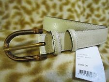 GUCCI BAMBOO MYSTIC WHITE GRAINY LEATHER MENS BELT 42 / 105 NWT NEW ITALY $380!!