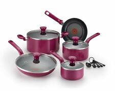 Pots And Pans Set Nonstick Cooking Baking Kitchen 10 Piece Cookware Berry Pink