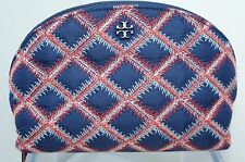 Tory Burch Flame Quilt Nylon Rounded Cosmetic Case Makeup Bag Navy Red Pouch NWT