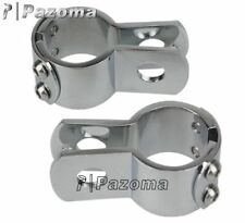"For Harley Footrest Clamps 1-1/4"" Engineer Guard Crash Bar Pegs Footpegs Chrome"