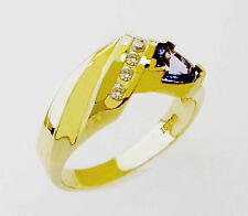 14kt YELLOW GOLD FABULOUS TANZANITE AND DIAMONDS LADIES RING (10760)