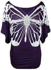 New Ladies Glitter Butterfly T-Shirt Women Stretch Sequin Batwing Top Size 8 -26