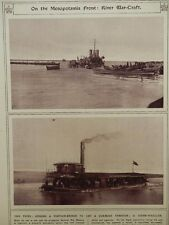 1917 TIGRIS WAR BOATS MESOPOTAMIA GUN-BOAT AND STERN-WHEELER PADDLER WWI WW1