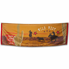 2.2m Deluxe Wild West Western Cowboy Saloon Party Fabric Flag Banner Decoration