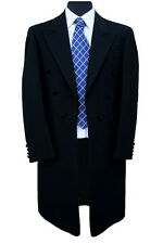 "EX-HIRE 100% Herringbone Wool Black Frock Coat 42"" Long"