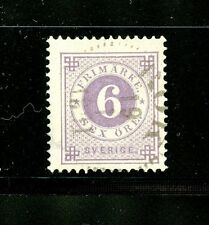 Sweden #44 (SW222) Numeral type, 6 red lilac, Used, FFVF, CV$62.50