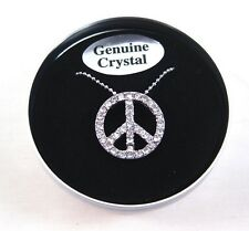 """Genuine Crystal Peace Sign 16"""" Necklace in Beautiful Tin Box with $24.99 Tags"""