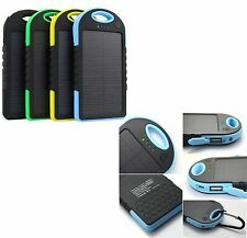 5000mAh Solar Power Bank Dual USB Portable Charger Waterproof for iPhone Samsung