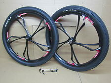 "26"" Mountain MTB Bike Bicycle DISC BRAKE 7/8/9/10 Speed Mag Black Wheel set"