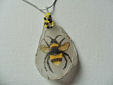 "Buzzy bumblebee necklace hand painted english sea glass 18"" silver plated chain"