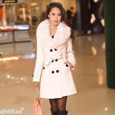 2017 Women Winter Coat Long Wool Jacket Fur Collar Slim Outwear Trench coat