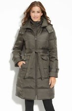 NEW Ellen Tracy Olive Green Long Quilted Down Coat Size PL