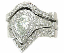 14K WHITE GOLD PEAR CUT DIAMOND ENGAGEMENT RING AND 2 BANDS BEZEL SET 2.50CTW