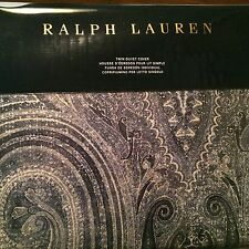 Ralph Lauren Allister TWIN Duvet Cover Blue White Equestrian Paisley Free Ship
