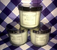 Lot of 3 Bath & Body Works EUCALYPTUS MINT & WAVES 4 OZ JAR CANDLE