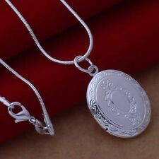 925 Sterling Silver Plated Oval Opening Locket & Snake Necklace.18 inch/46cm
