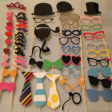 New 58PCS Masks Photo Booth Props Mustache On A Stick Birthday Wedding Party DIY