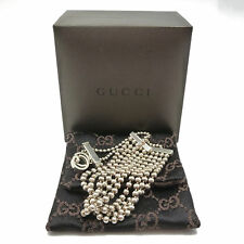 Auth GUCCI GG Quintuple Beaded Adjustable Bracelet 925 Sterling Silver #K161434