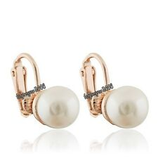 New 18K Rose Gold Plated White Pearl Clip on Earring Q904