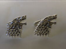 STERLING SILVER DIRE WOLF HOUSE OF STARK GAME OF THRONES CUFFLINKS UK MADE