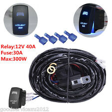 Max 300W 12V 40A Car Truck Wiring Harness LED Light Bar On Off Rocker Switch Kit