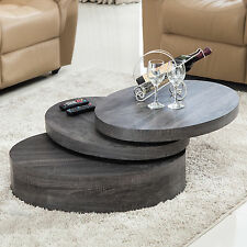 Oak Round Rotating Wood Coffee Table with 3 Layers Living Room Furniture