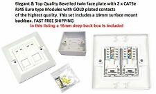 CAT5e RJ45 Double Ethernet Network 2 Port Wall Socket Face Plate & 19mm Back Box