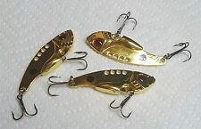 """CORDELL GAY BLADE / STYLE (3)-LURES VIBE METAL GOLD BAIT 2.25"""" - 3/8oz. LURES"""