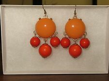 J. Crew Orange Peach bobble dangle earrings  not marked cabochon chandelier