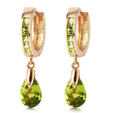 3.9 Carat 14K Solid Rose Gold Huggie Earrings Dangling Peridot